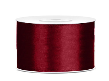 Bordeaux rood satijn lint 38 mm breed