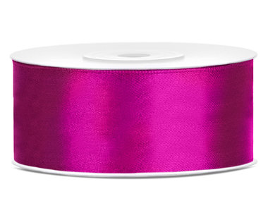 Donker fuchsia satijn lint 25 mm breed
