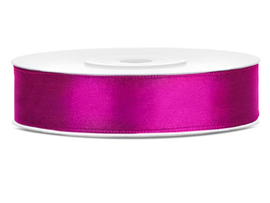 Donker fuchsia satijn lint 12 mm breed