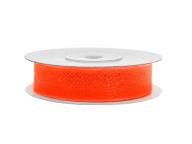 Organza lint 15 mm breed oranje