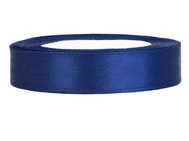 Donker blauw satijn lint 1 cm breed