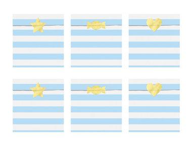 Papieren zakjes gestreept licht blauw met gouden sticker 6 stuks