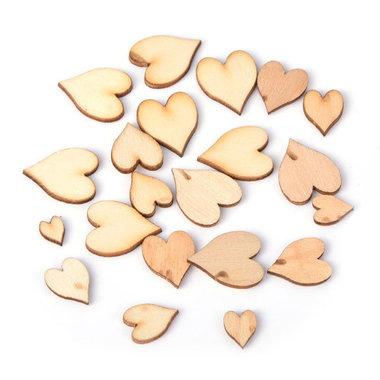 Houten confetti hartjes