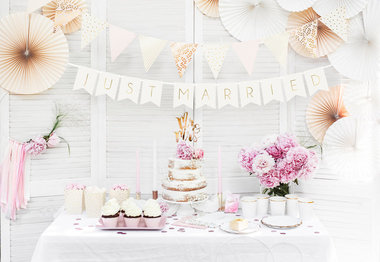 Slinger just married licht roze metalic goud bedrukt