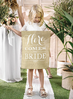 Jute banner here comes the bride