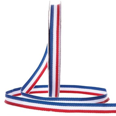 Rood wit blauw lint 10 mm breed 20 meter rol