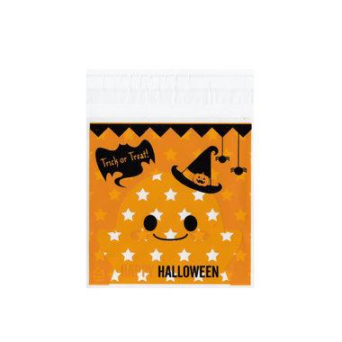 cellofaan zakjes halloween oranje met sterretjes 10 stuks