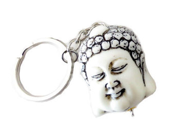 Boeddha hoofd sleutelhanger wit