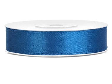 Dubbelzijdig satijn lint 1 cm breed blauw
