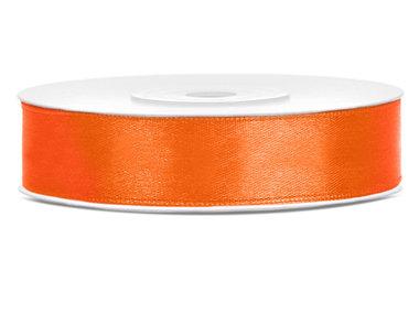 Dubbelzijdig satijn lint 1 cm breed oranje