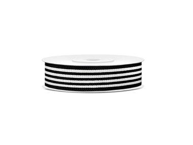 Grosgrain 18 mm zwart met grijze streep