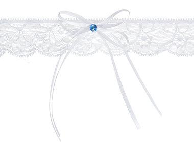 Kousenband wit kant met strikje en blauw steentje