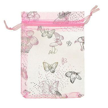 Organza zakjes vlinders roze met zilveren vlinder print