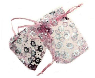 Organza zakjes zilver bloemen roze zakje