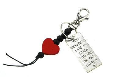 Sleutelhanger gelukspoppetje hartje en label how beautiful life is........