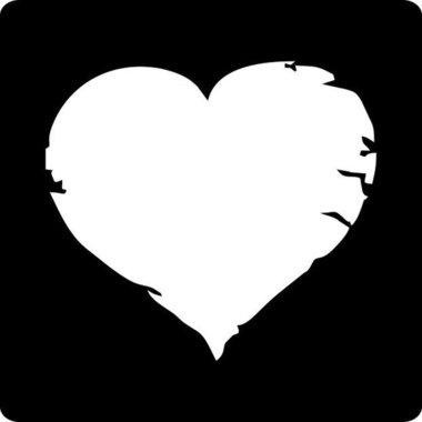 Stickers vierkant zwart met wit hart 10 stuks
