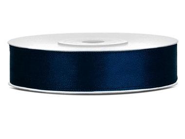 Donker blauw satijn lint 1.2 cm breed
