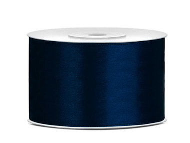 Donker blauw satijn lint 38 mm breed