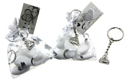 Bedankjes Organza zakje bruidsuiker met metalen boeddha sleutelhanger