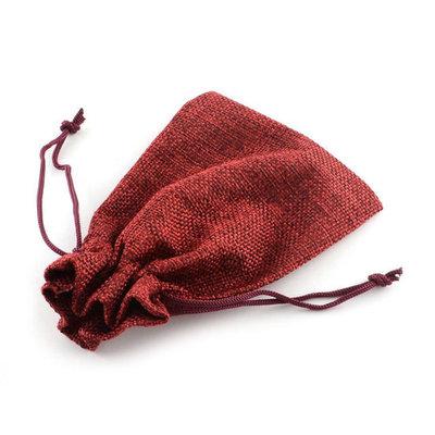 Jute zakje bordeaux rood 7 x 9 cm