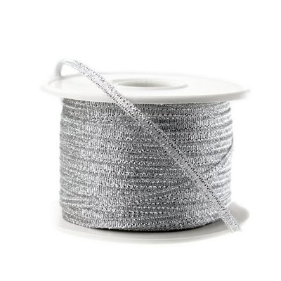 Metalic lint 3 mm breed Zilver