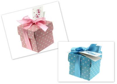 Geboortebedankjes doosje met witte stippen