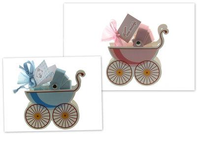 Geboortebedankjes kinderwagen doosje