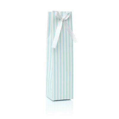 Doopsuikerdoosje langwerpig licht blauw wit gestreept