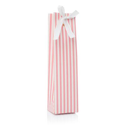 Doopsuikerdoosje langwerpig roze wit gestreept