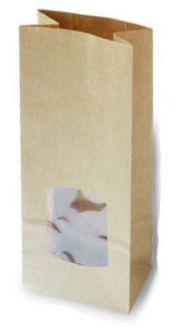 Kraft papier blokbodemzakje met venster
