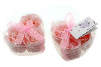 Bedankjes 3 zeeprozen roze in hartje
