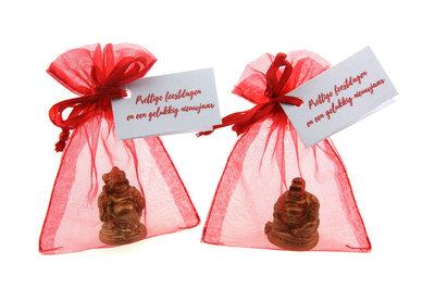 Bedankje kerst met 3 cm boeddha vouwkaartje kerst