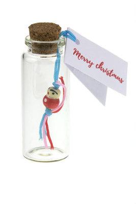 Bedankje kerst geluksflesje chinees gelukspoppetje