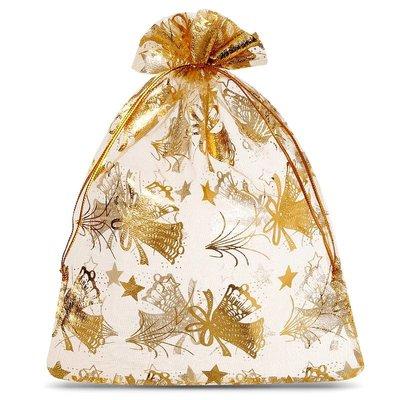 Organza zakjes kerst goud met goud opdruk 7 x 9 cm