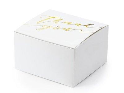 Wit doosje met goud metalic thank you