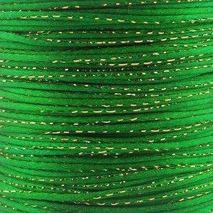 Satijn koord 2 mm groen met goud draad