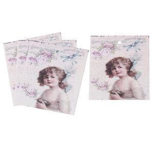 10 labels vintage meisje met strik