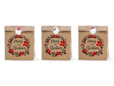 Kerst kraft zakjes Merry christmas rood kerstster met stickers 3 stuks