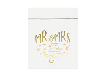 Wit papieren zakjes MR & MRS 6 stuks