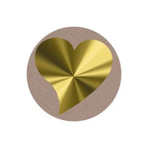 Ronde stickers goud hartje 10 stuks
