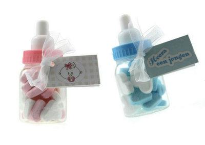 Geboortebedankje papflesje met pepermunthartjes
