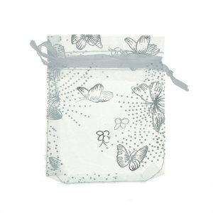 Organza zakjes wit zakje zilveren vlinder